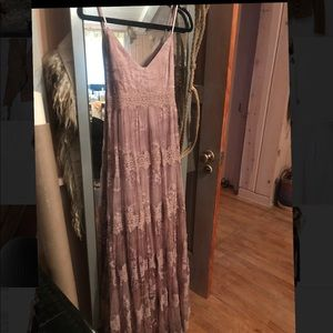 BHLDN Lilac Lace Maxi Dress